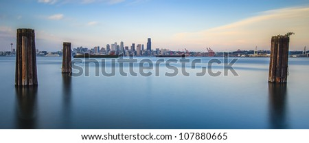 panoramic view of Seattle from Alki - stock photo