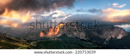 Panoramic view of Sella group mountain, Val di Fassa, Italian Dolomites  - stock photo