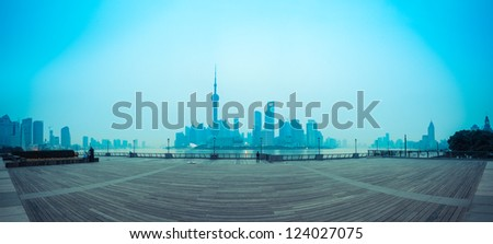 panoramic view of shanghai skyline at dawn