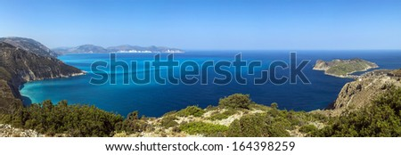 Panoramic view of shores of island Kefalonia in the Ionian sea, Greece - stock photo