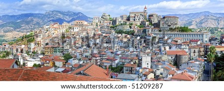 Panoramic view of sicilian town Castiglione in Etna region
