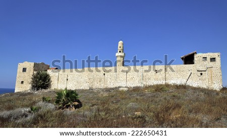 Panoramic view of Sidna Ali Mosque building at Mediterranean seaside in Israel. - stock photo