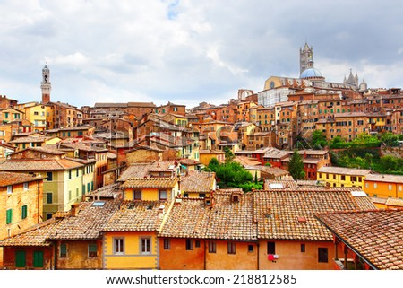 Panoramic view of Siena, Italy - stock photo