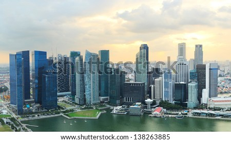 Panoramic view of Singapore at a beautiful sunset