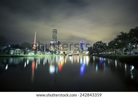 Panoramic view of skycrapers along the Yarra River in Melbourne - stock photo