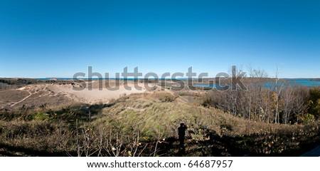 panoramic view of sleeping bear dunes and lake michigan - stock photo