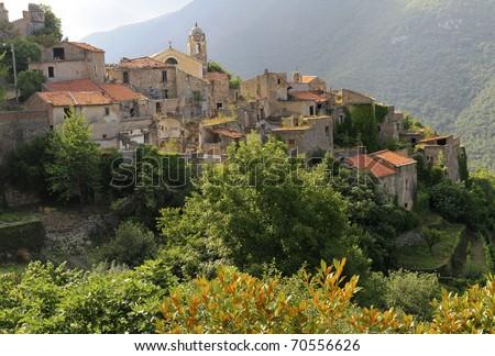 Panoramic view of small town Balestrino, Liguria, Italy - stock photo