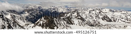 Panoramic view of snow covered mountains on the Pic du Carlit, Pyrenees, France