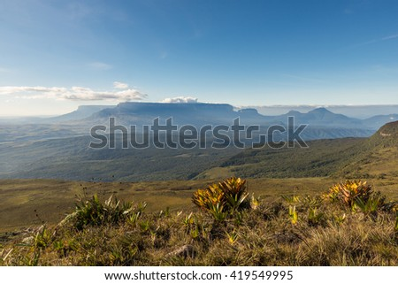 Panoramic view of some tepuis (table-top mountains) between Venezuela and Guyana. - stock photo