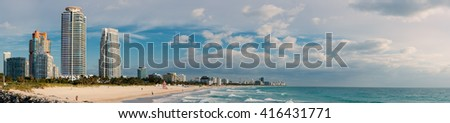Panoramic view of South Beach in a sunny day. South Beach (also known as SoBe), is one of the more popular areas of Miami Beach.  - stock photo