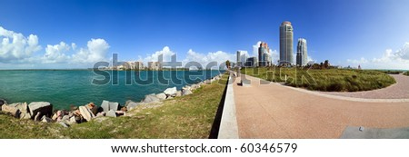 Panoramic view of South Pointe Park in the South Beach area of Miami Beach. - stock photo