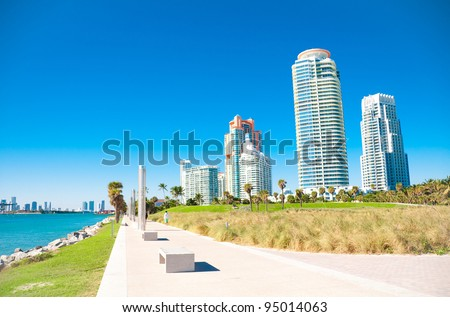 Panoramic view of South Pointe Park in the South Beach area of Miami Beach - stock photo