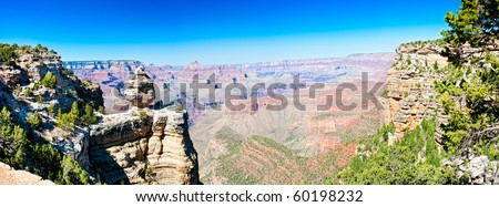 Panoramic view of South Rim in Grand Canyon, National Park. This is a 35 MP image composed of more than 10 individual shots. - stock photo