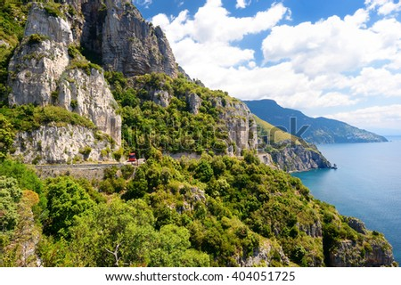 Panoramic view of spectacular Amalfi coast in Italy - stock photo