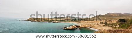 Panoramic View of Spooner's Cove, Montana de Oro State Park, California - stock photo