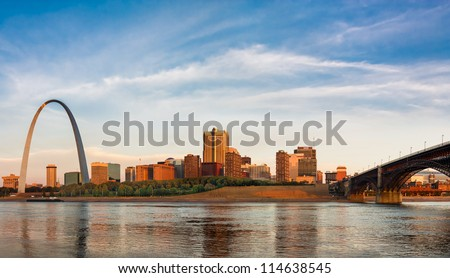 Panoramic view of St Louis with The Gateway Arch and Eads Bridge - stock photo