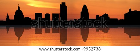 Panoramic view of St Pauls Cathedral and London skyline reflected at sunset illustration - stock photo