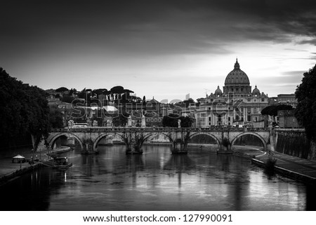 Panoramic view of St. Peter's Basilica and the Vatican City (with the river Tiber winding around it) - Rome, Italy (black&white) - stock photo