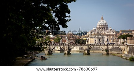 Panoramic view of St. Peter's Basilica and the Vatican City (with the river Tiber winding around it) - Rome, Italy - stock photo