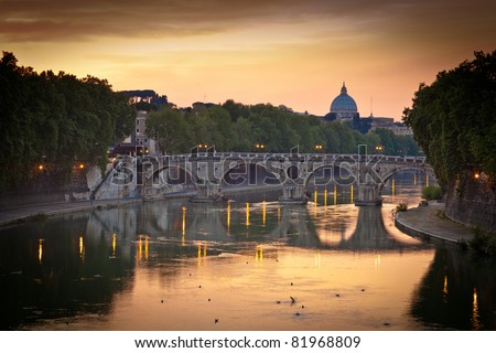 Panoramic view of St. Peter's Basilica and the Vatican City (with the river Tiber winding around it) - Rome, Italy (color toned image) - stock photo