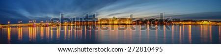 Panoramic View of St. Petersburg. Vasilyevsky Island at night - stock photo