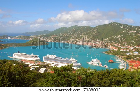 Panoramic view of St Thomas, USVI