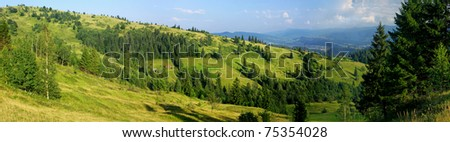 Panoramic view of summer Carpathian mountains, Ukraine - stock photo
