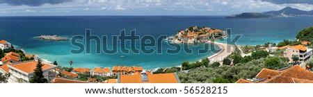 Panoramic view of Sveti Stefan (St. Stefan) island in Adriatic sea, Montenegro - stock photo