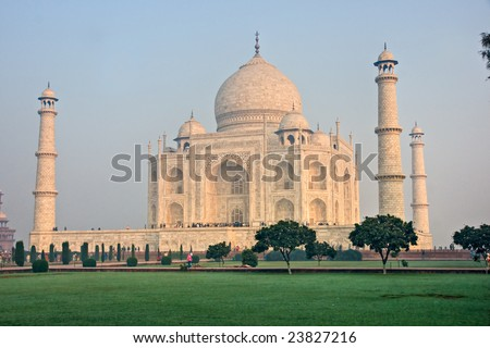 Panoramic view of Taj Mahal at sunrise, Agra, Uttar Pradesh, India. - stock photo