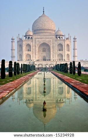 Panoramic view of Taj Mahal at sunset, Agra, Uttar Pradesh, India. - stock photo