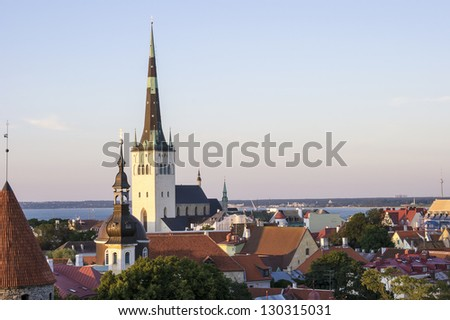 Panoramic View of Tallinn including St Olaf's Church - stock photo