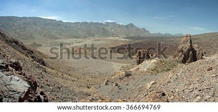 Panoramic view of Teide National Park mountain in Tenerife, Canary Islands - stock photo