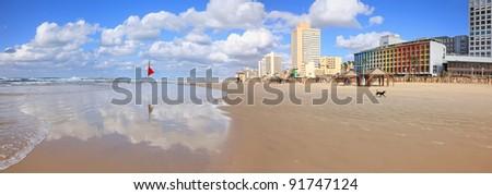 Panoramic view of Tel-Aviv beach in winter (Mediterranean sea. Israel) - stock photo