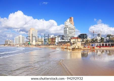 Panoramic view of Tel-Aviv beach (Mediterranean sea. Israel) - stock photo