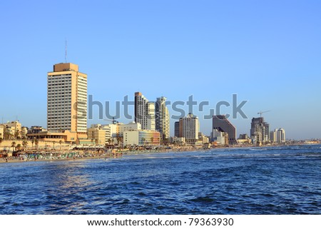 Panoramic view of Tel-Aviv (Israel) - stock photo