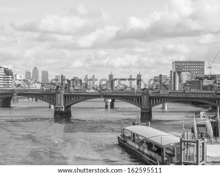Panoramic view of Thames River London UK in black and white