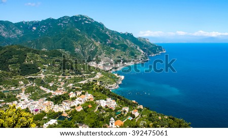 Panoramic view of the Amalfi Coast in Italy - stock photo