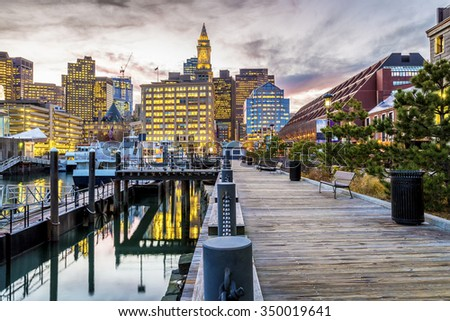 Panoramic view of the architecture of Boston in Massachusetts, USA at night. - stock photo