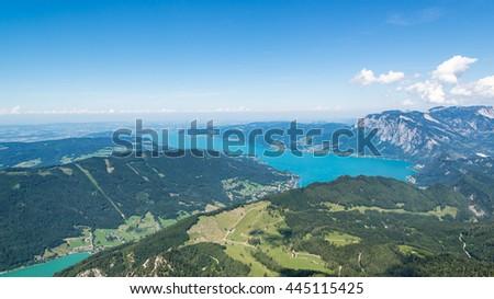 panoramic view of the Austrian Alps from Schafberg peak, lake Mondsee, St. Wolfgang, Austria - stock photo