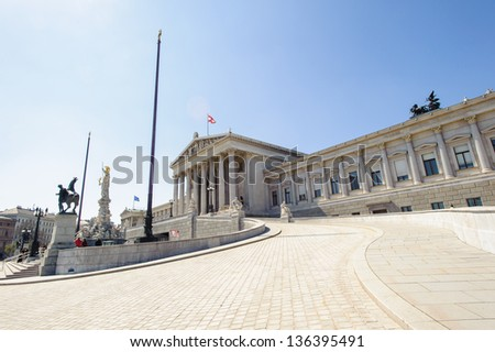 Panoramic view of the Austrian Parliament building, Viena, Austria - stock photo