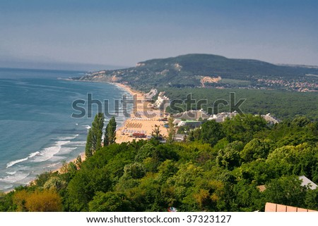 Panoramic view of the bay; Golden Sands, Bulgaria - stock photo