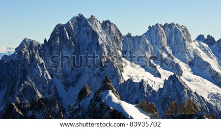 Panoramic view of the Beautiful french alps - stock photo