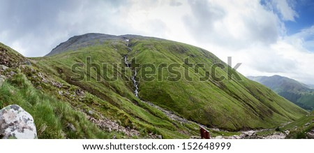 Panoramic view of the Ben Nevis, the highest Mounatin in the Scotish Highlands, with the Steall Waterfall