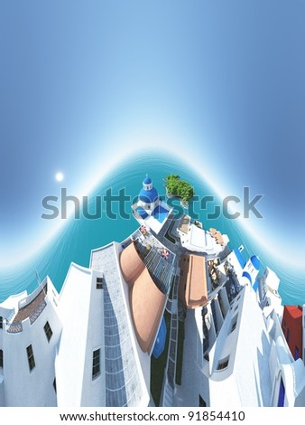 Panoramic view of the blue church in the Greek island Santorini - 3d illustration - stock photo