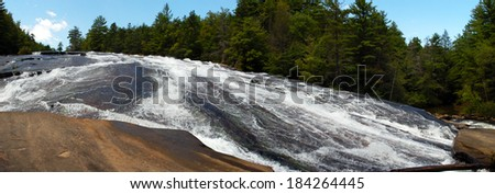 Panoramic View of the Bottom of Bridal Veil Falls at DuPont State Forest, North Carolina
