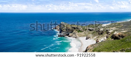Panoramic view of the Cape of Good Hope, one of the most popular tourist attractions in Cape Town, South Africa. It is also the point where the Atlantic and Indian Oceans meet. - stock photo