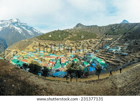 Panoramic view of the capital of sherpas - Namche Bazar, Nepal, Himalayas - stock photo