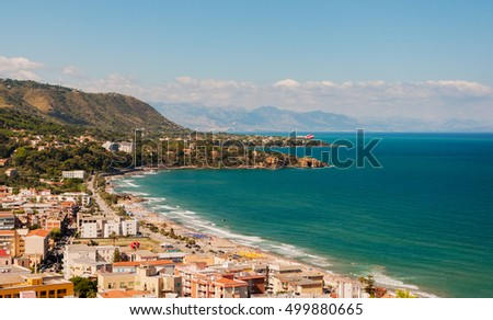 Panoramic view of the Cefalu coast in Sicily, Italy.