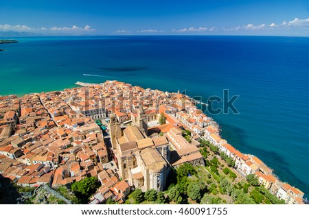 Panoramic view of the Cefalu, Sicily, Italy. Cathedral-Basilica from top. Province of Palermo. - stock photo