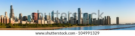 Panoramic view of the Chicago Skyline at Sunrise - stock photo